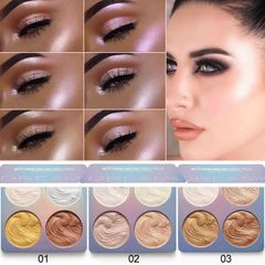 Highlighter Powder Palette 3 Colors High Gloss Shimmer Powder Pallet Makeup Cosmetic 3#