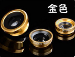 Fisheye Macro Wide Angle with external Clip On Lens 3 in 1 Clip-On Mobile Camera Lens golden 3 in 1