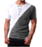 V-shape sportive T-shirt short sleeve fashion cotton multicolor-combination metallic button white and grey M