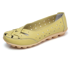 Flats For Women Comrfort Genuine Leather Flat Shoes Woman Loafers Ballet Shoes Female Moccasins green 35