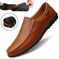 Genuine Leather Men Casual Shoes Flats 2019 Moccasins Soft Breathable Men Loafers Male Driving Shoes red-brown 46