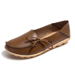 Leather Shoes Moccasins Mother Loafers Soft Leisure Flats Casual Female Driving Ballet Footwear orange 34