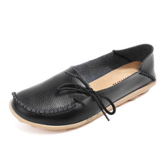 Leather Shoes Moccasins Mother Loafers Soft Leisure Flats Casual Female Driving Ballet Footwear black 34