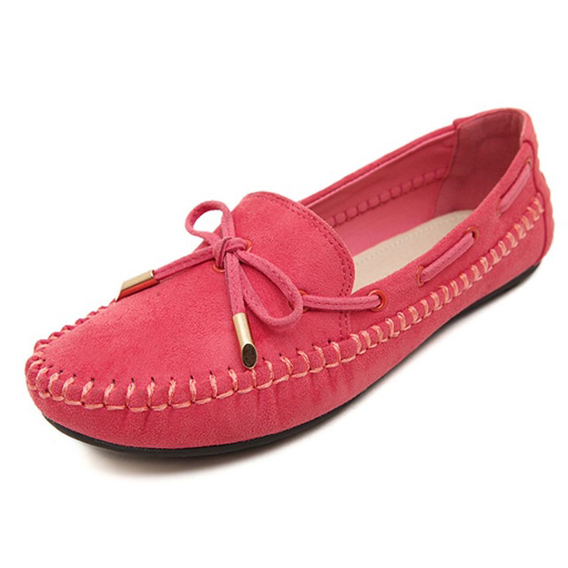Candy Color Women Loafers Tassel Fashion Round Toe Ladies Flat Shoes Sweet Bowtie Flats Casual Shoes red 36