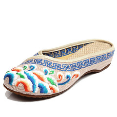 Handmade Flower Embroidery Slippers Summer Fashion Women Chinese Style Casual Shoes Woman beige 35