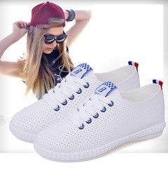 Breathable Hollow Shoes PU Leather Flat Rubber Sole Lace Up Casual blue 35