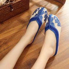 Blue and white porcelain retro Chinese style with linen embroidered cloth shoes women's slippers blue 37