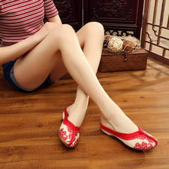 Blue and white porcelain retro Chinese style with linen embroidered cloth shoes women's slippers red 35