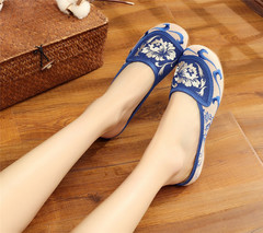 Handmade Summer Women Comfort Canvas Slippers Floral Embroidery Slide Shoes for Ladies Outside blue 34