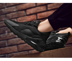 New couple loafers men's large size running shoes fashion breathable shock absorber couple shoes black 38