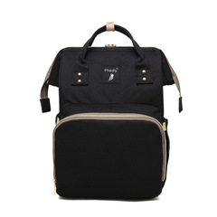 Multi-functional high-capacity mommy bag mommy bag double shoulder baby bag black as picture