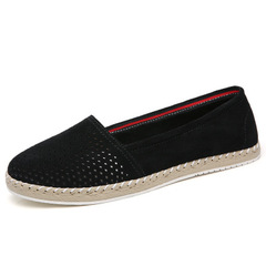 2019 summer new women's frosted shallow mouth soft bottom women's non-slip flat shoes loafers black 36