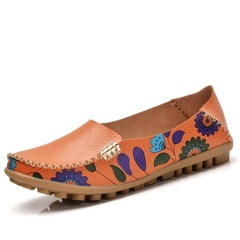 women flats genuine leather shoes slip on ballet flats woman shoes moccasins loafers shoes orange 35