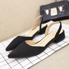 New pointed chunky sandals with suede low-heeled casual women's shoes wholesale hot style black 35