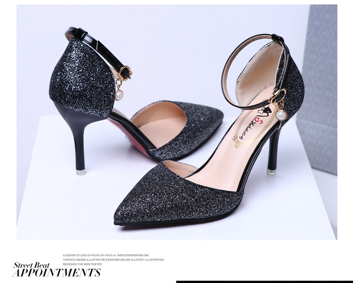 New summer high heeled sandals for women stylish and sexy with a slim one-button pearl pointed toe black 34
