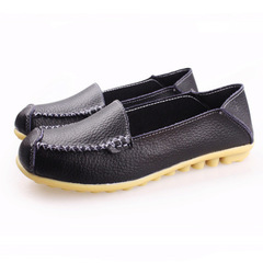 New leather round head soft bottom flat bottom driving mom shoes back with nurse loafers black 35