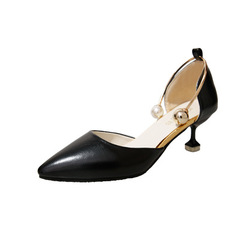 A new 2019 summer shoe for women with pointy, nude feet and pearl heels black 34