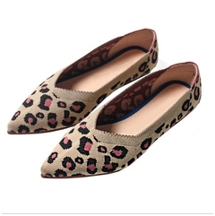Flats Shoes Leopard Print Women Shoes Casual Single Shoes Ballerina Women Shallow Mouth Shoes khaki 35
