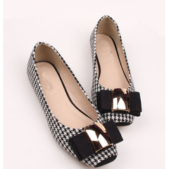 Fashion Women Shoes Woman Ballet Flats Plaid Cloth Shoe Bowknot Comfortable Square head Casual Shoes as picture 35
