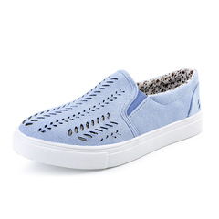 Hot style 2019 women's casual loafers with hollow flat heels large size blue 35