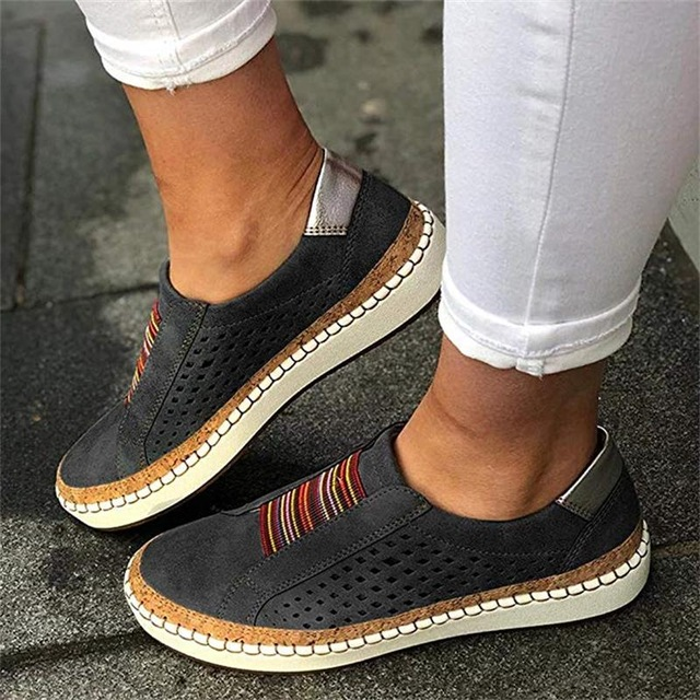 Hollow Out Women's Shoes Breathable Elastic Band Casual Flat Suitable for Wide Leg Women's Sneaker black 35