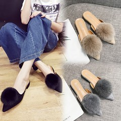 New  2019 home slippers female tassel  slippers large size foreign trade slippers female slippers khaki 41