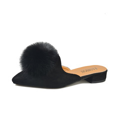 New  2019 home slippers female tassel  slippers large size foreign trade slippers female slippers black 36
