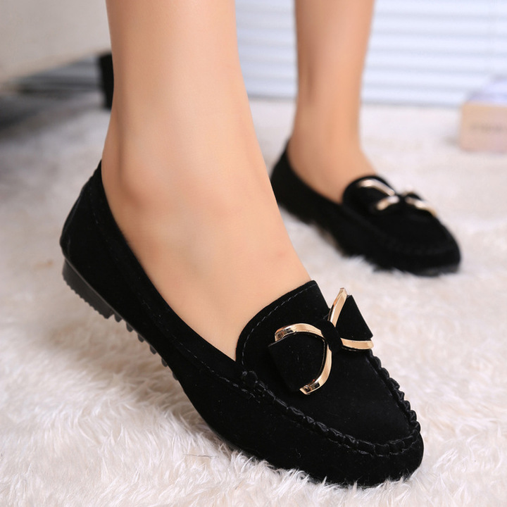 Autumn beanie shoes flat heel flats casual single bow women's shoes skidproof driving work shoes black 35