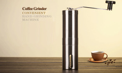 manual stainless coffee Precision stainless brushed conical Grinders handle grinding tool same color same size