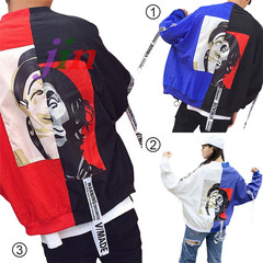 Stars in the same paragraph Men& women lovers Jacket Clown pattern thermal jacket &Splicing Coats white xxl