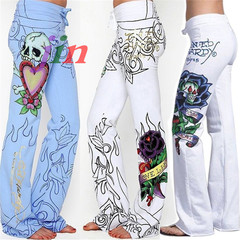 2019 Newest Style New Fashion Brand Sexy Women Casual Floral Printed Sexy Ladies Wide Leg Pants white s