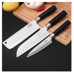 Stainless steel kitchen knife chef knife fruit knife three sets slice knife household kitchen knife one colo one size