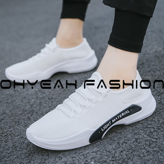 New men's sports shoes lightweight wearable student running shoes breathable soft casual shoes white 39