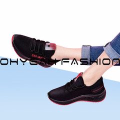 Women Casual Shoes Femme Spring Autumn Shoes Women Sneakers Flats Fashion black+red 36