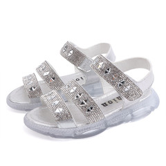 2019 Summer Girl Crystal Sandals Princess Shoes Velcro Rubber Bottom 01 27