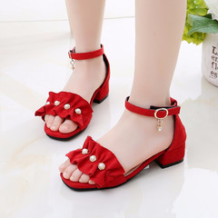 2019 summer girl buckle rubber bottom princess shoes cattle suede 01 27