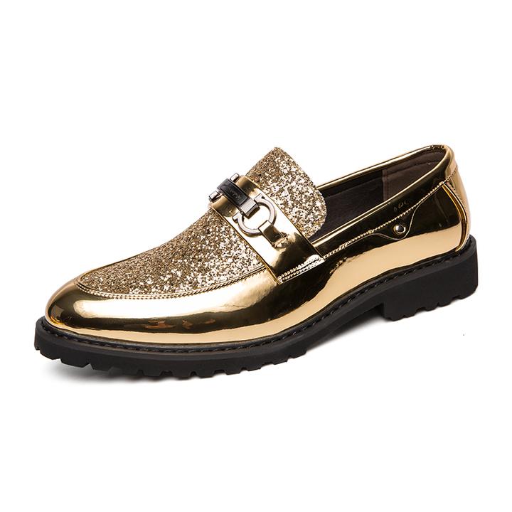 Golden leather shoes, foot Lok Fu shoes, 38-46 fashion shoes, men go out 01 44
