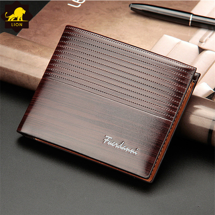 New Wallet Short Men Wallets PU Leather Male Purse Card Holder Wallet Fashion Wallet Black QB-2 dark brown one size