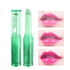 Lip Moisturizer Nutritious Lipbalm Makeup Aloe Vera Plant Lipstick Women Temperature Chang Color as shown