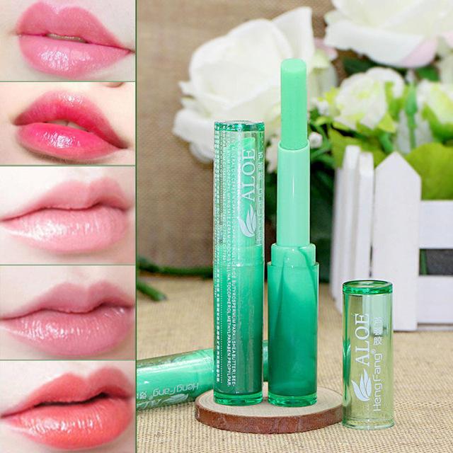 Nutritious Lipbalm Makeup Aloe Vera Plant Lipstick Women Temperature Chang Color as shown
