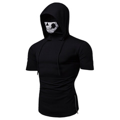 Personalized elastic fitness men ninja suits hooded short-sleeved T-shirt skull mask Call of Duty black m