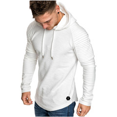 2019 men's round neck slim solid color hooded long-sleeved t-shirt striped pleated raglan sleeves white m