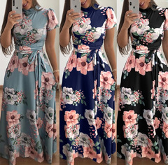 Casual printed straps long skirt dress women's short sleeve + long sleeve style light green( long sleeve style) m