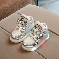 2019 New Spring Children's Sneakers Chaussure Enfant Hello Kitty Girls Flat Shoe With LED Light gold 29