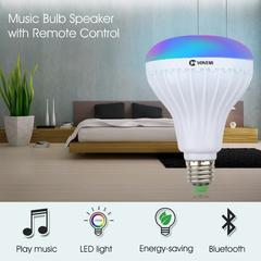 M&J Wireless Bluetooth Speaker Bulb LED Lamp Smart Light Music Player Audio Remote Control Subwoofer Colorful 12W dpyy-e28