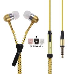 Zippered in-Ear Earphones with Mic 2019 Mobile Week Metal bass Earbuds Headphone orange