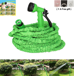 3 Times Expanding Automatic Retractable Watering Telescopic Rubber with Spray Gun green 7.5 meter