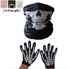 Skull print Multi-Purpose Scarf/Bandana/Mask and gloves, Ghost Festival, party, COSPLAY men gift black