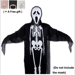 Skull Skeleton Ghost Clothes Adult Halloween Cosplay  Masquerade Halloween Party Decoration black and white 120cm