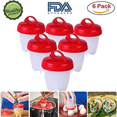 6 pcs Silicone Egg Cooker makes Hard&Soft boiled eggs, BPA Free, No Shell,AS SEEN ON TV red and white 15×10×4cm